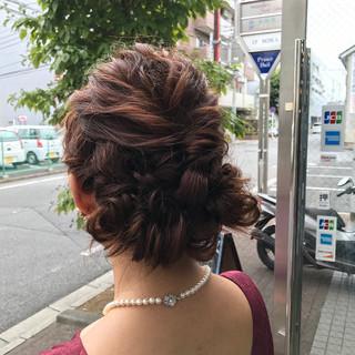 ミディアム 簡単ヘアアレンジ 秋 結婚式 ヘアスタイルや髪型の写真・画像
