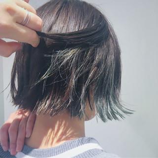 黒髪 ナチュラル ブラントカット ボブ ヘアスタイルや髪型の写真・画像