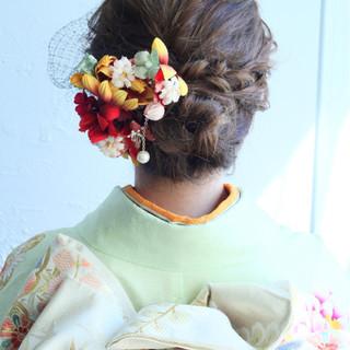 ナチュラル 着物 ヘアアレンジ セミロング ヘアスタイルや髪型の写真・画像
