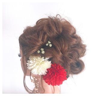 ゆるふわ 成人式 セミロング 結婚式 ヘアスタイルや髪型の写真・画像