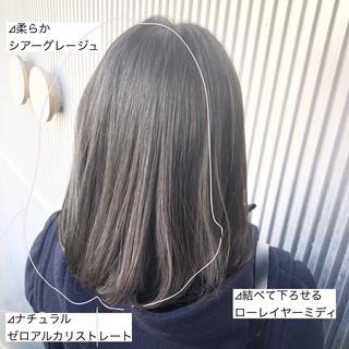 髪質改善 ナチュラル グレージュ ストレート ヘアスタイルや髪型の写真・画像