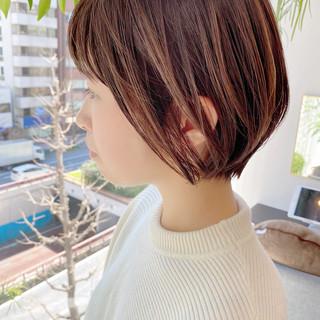 オフィス デート ショート ミニボブ ヘアスタイルや髪型の写真・画像