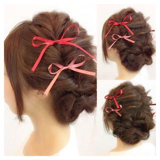 簡単ヘアアレンジ 二次会 結婚式 ショート ヘアスタイルや髪型の写真・画像