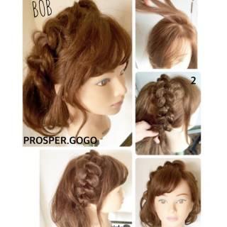 セルフヘアアレンジ 編み込み 二次会 ヘアアレンジ ヘアスタイルや髪型の写真・画像 ヘアスタイルや髪型の写真・画像