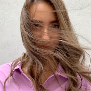 コントラストハイライト ミニボブ ナチュラル セミロング ヘアスタイルや髪型の写真・画像