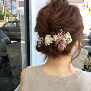 ミディアム 結婚式 まとめ髪 ヘアアレンジ ヘアスタイルや髪型の写真・画像 ヘアスタイルや髪型の写真・画像