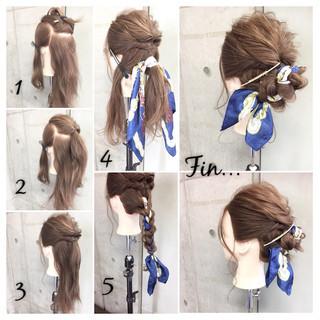 ヘアアレンジ ヘアアクセ セミロング 簡単ヘアアレンジ ヘアスタイルや髪型の写真・画像