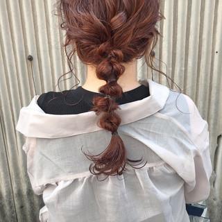 カジュアル セミロング ガーリー 簡単ヘアアレンジ ヘアスタイルや髪型の写真・画像
