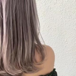 ハイトーン ガーリー パープル ブリーチ ヘアスタイルや髪型の写真・画像