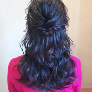 ロング ヘアアレンジ 黒髪 ハーフアップ ヘアスタイルや髪型の写真・画像