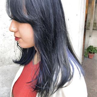 ネイビーブルー ネイビー スモーキーアッシュ モード ヘアスタイルや髪型の写真・画像