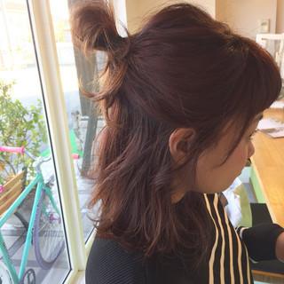 ヘアアレンジ ボブ ピンク ストリート ヘアスタイルや髪型の写真・画像