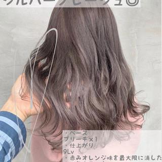 ミルクティー 簡単ヘアアレンジ セミロング グレージュ ヘアスタイルや髪型の写真・画像