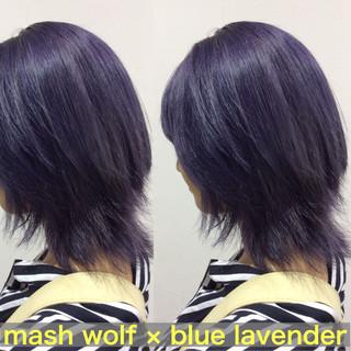 ブルーバイオレット マッシュウルフ ミディアム ヘアカラー ヘアスタイルや髪型の写真・画像