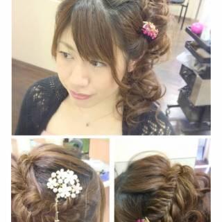 ヘアアレンジ 編み込み ナチュラル アップスタイル ヘアスタイルや髪型の写真・画像