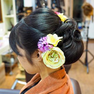 ヘアアレンジ 和装 上品 セミロング ヘアスタイルや髪型の写真・画像