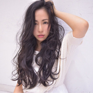黒髪 ロング 外国人風 ゆるふわ ヘアスタイルや髪型の写真・画像