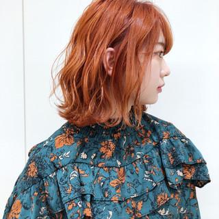 ブリーチ フェミニン ボブ オレンジ ヘアスタイルや髪型の写真・画像