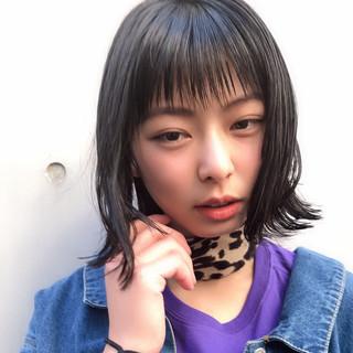 春 大人かわいい 黒髪 切りっぱなしボブ ヘアスタイルや髪型の写真・画像 ヘアスタイルや髪型の写真・画像