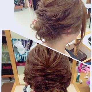 セミロング 結婚式 色気 ヘアアレンジ ヘアスタイルや髪型の写真・画像