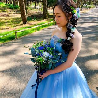 編みおろし 結婚式 ヘアセット ロング ヘアスタイルや髪型の写真・画像