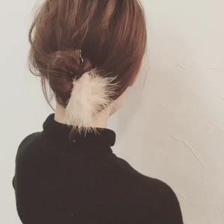 セミロング ヘアアレンジ ショート フェミニン ヘアスタイルや髪型の写真・画像