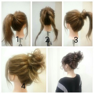 ショート 簡単ヘアアレンジ ヘアアレンジ メッシーバン ヘアスタイルや髪型の写真・画像