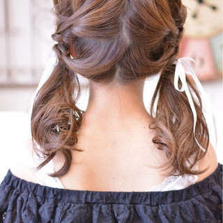 デート セミロング ゆるふわ ガーリー ヘアスタイルや髪型の写真・画像