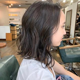 ラフ 暗髪 ボブヘアー ブルーバイオレット ヘアスタイルや髪型の写真・画像