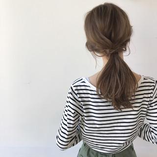 ナチュラル 透明感 ヘアアレンジ ミディアム ヘアスタイルや髪型の写真・画像