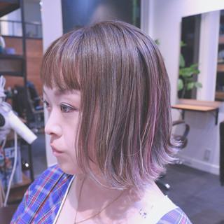 グラデーションカラー ボブ インナーカラー ハイライト ヘアスタイルや髪型の写真・画像