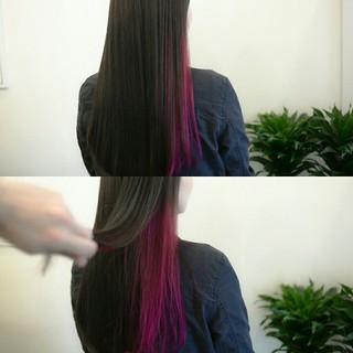 グレージュ レッド ロング ピンク ヘアスタイルや髪型の写真・画像