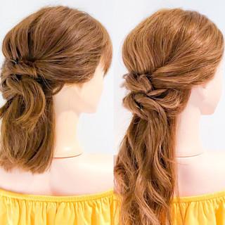ロング 簡単ヘアアレンジ アウトドア デート ヘアスタイルや髪型の写真・画像