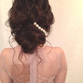 結婚式 デート ロング ナチュラル ヘアスタイルや髪型の写真・画像
