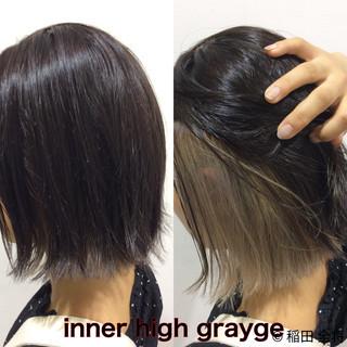 ヘアカラー ボブ インナーカラーグレージュ インナーカラー ヘアスタイルや髪型の写真・画像
