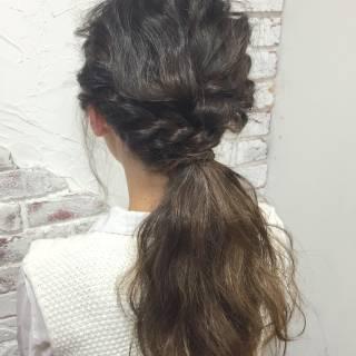 波ウェーブ ショート くるりんぱ 簡単ヘアアレンジ ヘアスタイルや髪型の写真・画像