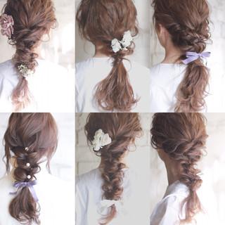 ゆるふわ 結婚式 ショート ヘアアレンジ ヘアスタイルや髪型の写真・画像
