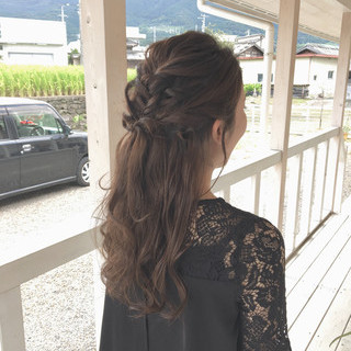 花嫁 お呼ばれヘア デート フェミニン ヘアスタイルや髪型の写真・画像