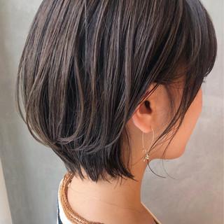 前下がりボブ ショート 秋ブラウン 秋冬スタイル ヘアスタイルや髪型の写真・画像