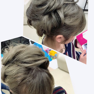 セミロング デート ヘアアレンジ ガーリー ヘアスタイルや髪型の写真・画像