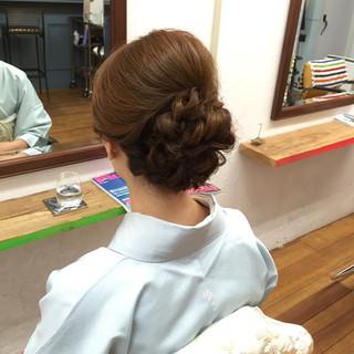 アップスタイル 着物 ヘアアレンジ ミディアム ヘアスタイルや髪型の写真・画像