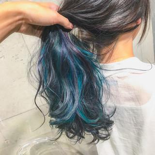 ハイトーン セミロング ダブルカラー ブリーチ ヘアスタイルや髪型の写真・画像