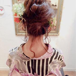 お団子 大人かわいい ショート ヘアアレンジ ヘアスタイルや髪型の写真・画像
