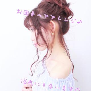 浴衣アレンジ フェミニン かわいい ロング ヘアスタイルや髪型の写真・画像
