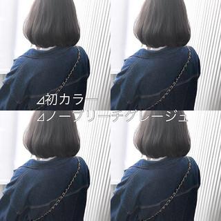 ボブ アッシュグレージュ 前髪 ナチュラル ヘアスタイルや髪型の写真・画像