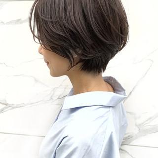ショート ナチュラル ハンサムショート 絶壁カバー ヘアスタイルや髪型の写真・画像