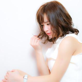 モテ髪 春 ミディアム ナチュラル ヘアスタイルや髪型の写真・画像