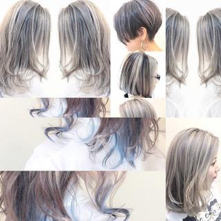 ハイライト ナチュラル ボブ バレイヤージュ ヘアスタイルや髪型の写真・画像