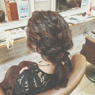 セミロング まとめ髪 簡単ヘアアレンジ 編み込み ヘアスタイルや髪型の写真・画像