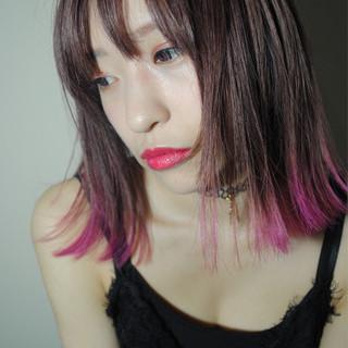 ボブ ベリーピンク 外国人風 ラベンダー ヘアスタイルや髪型の写真・画像